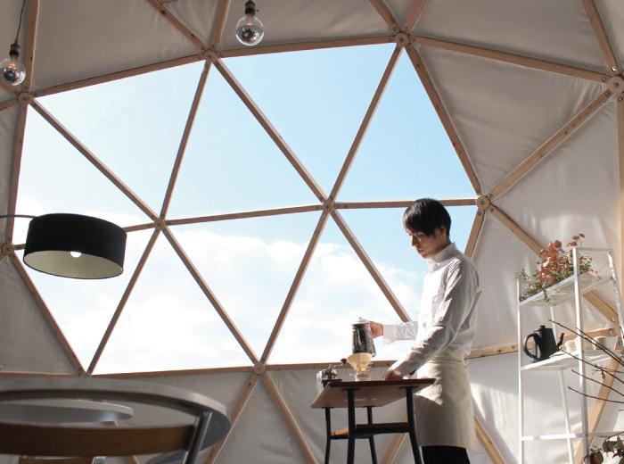 宙のドームの使用例 ショプやストアとして